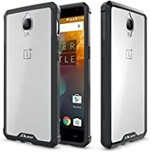 OnePlus 3 Case, JKase Scratch Resistant Lightweight Hybrid Clear Back Panel Protective Cover Case for OnePlus 3 (Black)