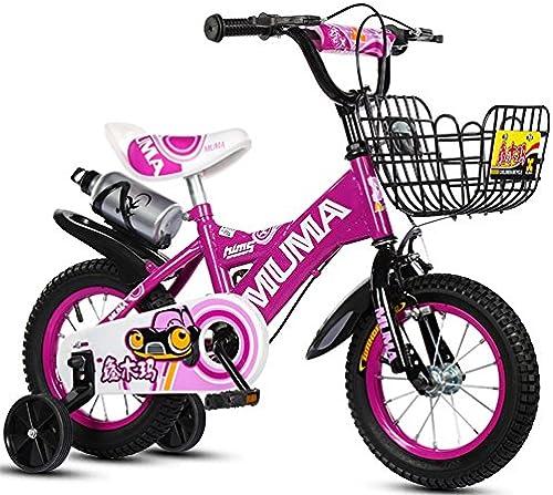 Kinderfürr r Guo Shop 2-4-6 Jahre Alt 6-7-8-9 Jahre Alt Kinderwagen Junge mädchenfürrad mit Trainingsrad und Wasserkocher (Farbe   lila, Größe   12 )