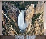 ABAKUHAUS Wyoming Tenda, Gran Canyon di Yellowstone, Casa Arredamento Elemento Distintivo Due Pannelli Set, 280 x 260 cm, Scuro Marrone Sabbia Cacciatore Verde E Bianco