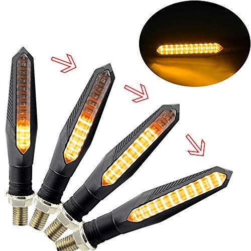 4 pcs Frecce moto LED Modalità Fluente,Indicatori per moto Modalità Flowing Super Luminose ,Universale per Moto Scooter Quad Cruiser Off Road
