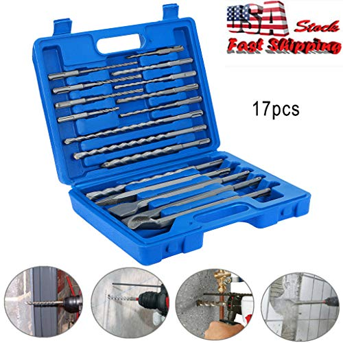 17pcs SDS Plus Rotary Hammer Drill Bits Chisel Concrete Masonry Hole Tool Set