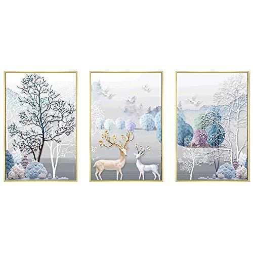 5D Punt Volledige Boor Tekening Drie Combinatie Muurschildering Reliëf Reliëf Elk Cross Stitch Nordic Woonkamer Voor Huisdecoratie