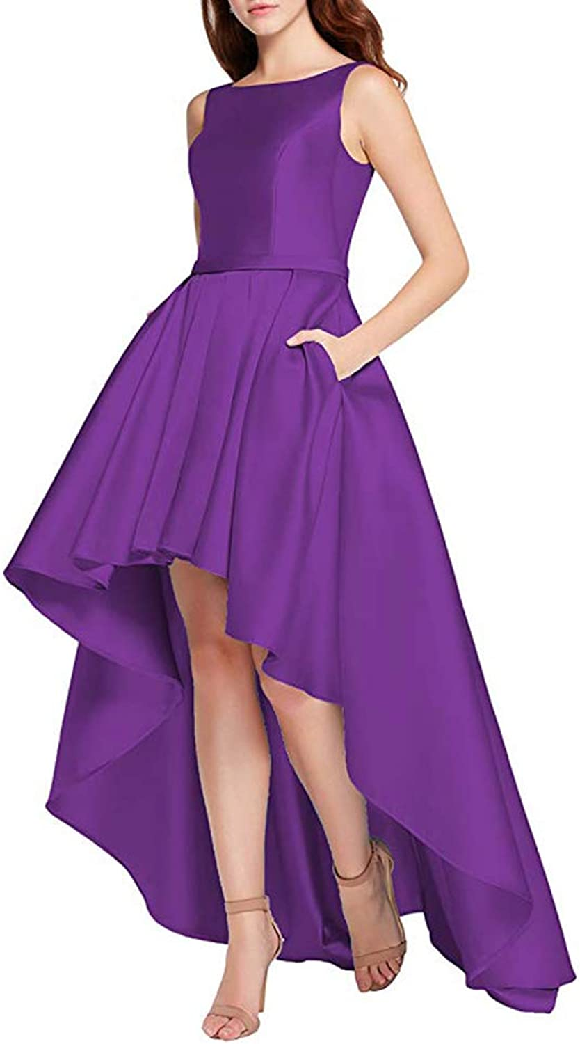 XSWPL Women's High Low Satin Prom Evening Dress Long Formal Gown with Pockets
