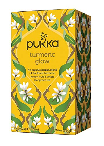 Pukka Herbs Turmeric Glow, Organic Herbal Tea With Lemon & Whole Leaf Green Tea, 20 Count (Pack of 3)