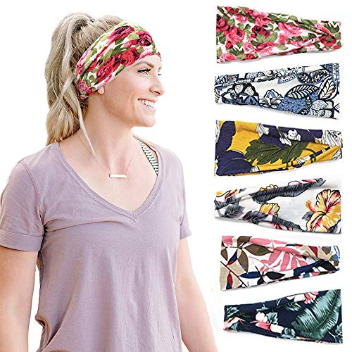 6 Pack Women Headband Boho Style Cross Head Wrap Yoga Running Workout Hair Band Head Cover