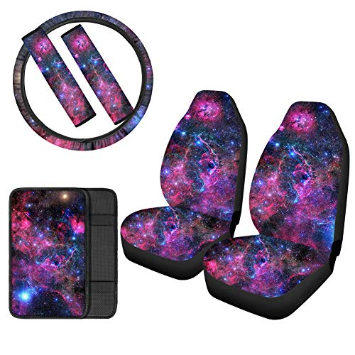 Showudesigns Galaxy Space Design Car Front Seat Cover 6-Pack Set Auto Seat Cover/Steering Wheel Cover/Seat Belt Pad/Armrest Cover Pads, Universal Fit Waterproof All Weather