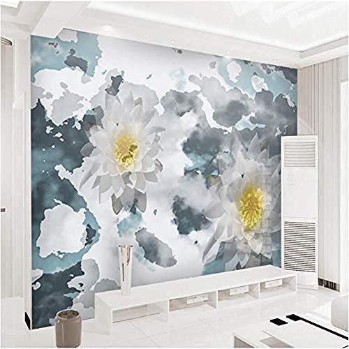 Modern Wall Art 3D muurschildering marmer textuur inkt Lotus slaapkamer behang idee moderne woonkamer kamer decoratie restaurant aangepaste 3D behang plakken woonkamer de muur voor slaapkamer muurschildering 150 cm.