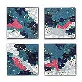 Set de cuadros modernos en acrílico pintados a mano de forma artesanal para decoración