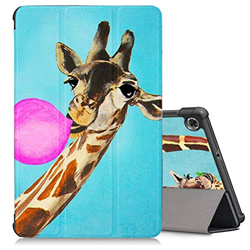 ZhuoFan Case for Lenovo Tab M10 Plus (TB-X606F/TB-X606X) 10.3' Tablet, Leather Slim Lightweight Shockproof Holder Stand Protective Cover Shell with Magnetic Adsorption, Auto Wake/Sleep,Giraffe Pink