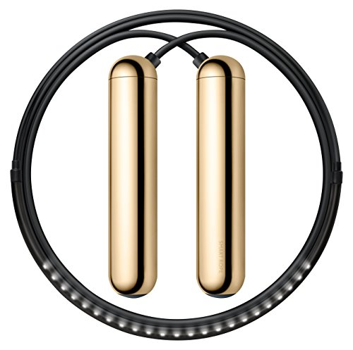 Tangram Factory - Smart Rope - LED Embeded Jump Rope - Displays Progress in Air - Gold, XS