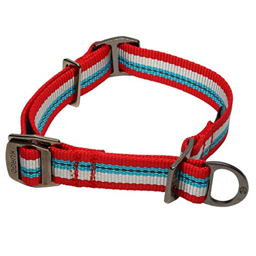 Kurgo Dog Training Collar, Martingale Style Collar for Dogs, Alternative to Choke Collars, Limited Slip, Adjustable, Reflective, Walk About Training Collar | Chili Red (Medium), Chili Red/Coastal Blue