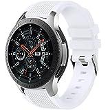 Dirrelo Correa Compatible con Samsung Galaxy Watch 3 45mm/Galaxy Watch 46mm/Huawei GT 2 46mm, 22mm Deportiva Muñequeras Suave Silicona Reemplazo para Samsung Gear S3 Frontier, Hombres Mujeres, Blanco
