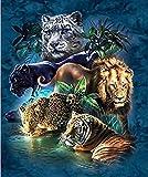 FSKJSZYH Rahmenlose DIY Malen Nach Zahlen Ölfarbe Wandkunst Bilder Dekor Für Hauptdekoration Tiger...