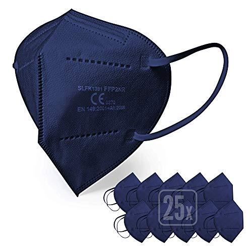 ENERGY BALANCE FFP2 Maske blau - Schachtel à 25 Stück - EU CE Zertifiziert, mit verstellbarem Gummiband und anpassbarem Nasenbügel| 5 Filtrationsschichten, Schützt drinnen und draußen (25-BLUE)
