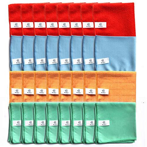 Fun & Life Microfasertücher XXL (32 Stück) by BUNEO | 8 x grün (Glas/Flächen) + 8 x blau (Böden) + 8 x orange (Küche/Bad) + 8 x rot (Allzweck), jeweils 30 x 30 cm