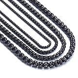 OSTAN 2mm - 5mm Collar de Cadena de Enlace de Cadena de Caja Briolette Cadena Veneciana Negro Acero Inoxidable Link para Hombre