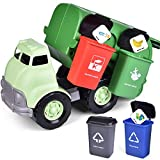 FUN LITTLE TOYS Garbage Truck Toy, Friction Powered Toy Trucks with 4 Garbage Cans and Back Dump for Kids, Sandbox Toys Outside Toys