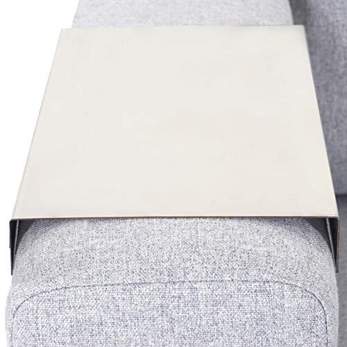Mendler Armlehnen-Ablage HWC-C67, Sofa-Butler Tablett, Edelstahl 25cm Länge ~ 18cm, 1 Stück