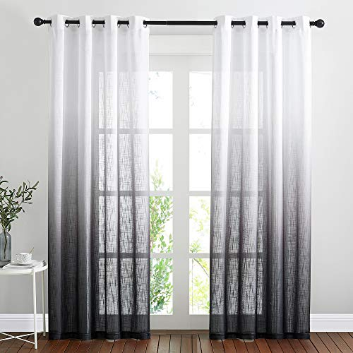 """NICETOWN Semi Sheer Curtains 84 inch Length for Living Room, Grommet White & Black Ombre Curtains Linen Blend Privacy Vertical Drapes Window Treatments for Hall/Villa, 100"""" Wide Total 2 Pieces"""
