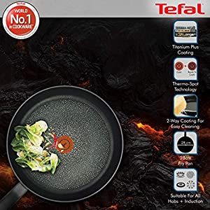 Tefal C69506 Hard Titanium Plus Pfanne, 28cm, antihaftbeschichtet, Aluminium, schwarz
