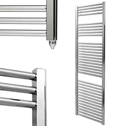 Richmond Radiators Bellerby - Toallero eléctrico recto, para baño, cocina, tamaño pequeño, mediano y grande, prellenado y listo para instalar, IP67 a prueba de salpicaduras, cromado, 1800 x 400