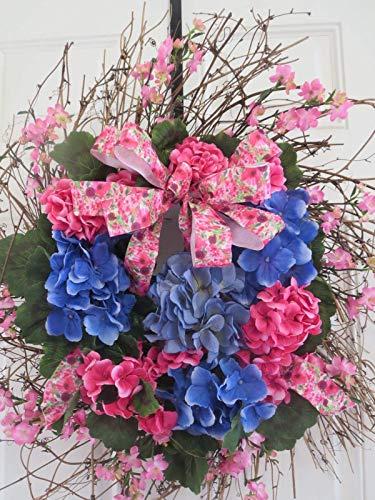 Spring Wreath Summer Door Wreath, Twig Wreath Base, Blue Hydrangeas Pink Geraniums
