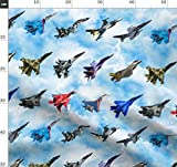 Flugzeug, Krieg, Collage, Jet Stoffe - Individuell Bedruckt