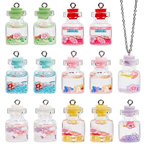 PandaHall Encantos de botella de cristal de 6 colores, 42 colgantes de botella de polvo con purpurina de flores para collares, pendientes, manualidades, para colgar en bolsa de llavero