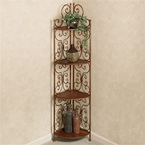 Touch Of Class Corner Display 4 Shelf Etagere Scrolled Bronze Finish Wooden Shelves