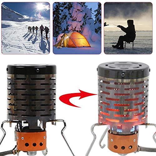 wisedwell Camp Heizaufsatz für Camping kocher, Edelstahl Mini Heizaufsatz für Gaskocher, Zeltheizung Gas Heizgerät für Camping und Wandern Heizaufsatz