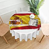 Mantel redondo de poliéster con estampado de bandera de España resistente al agua a prueba de derrames de gran mesa para comedor cocina de 60 pulgadas