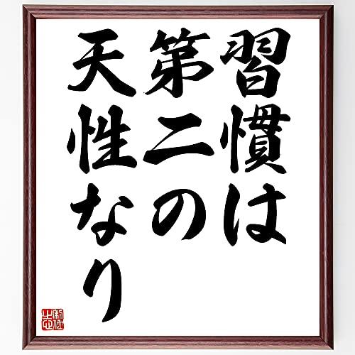 書道色紙/名言『習慣は第二の天性なり』額付き/受注後直筆(千言堂)Z0889