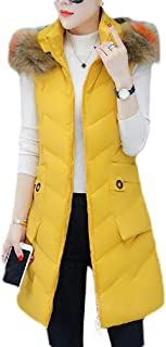 Macondoo Women Quilted Puffer Vest Faux Fur Hooded Warm Winter Down Vest Coat
