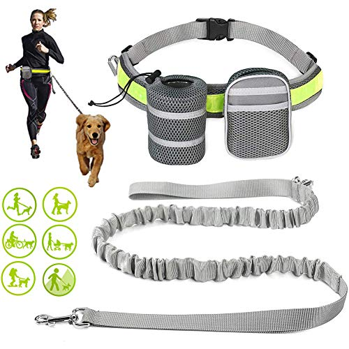 EDUPLINK Retractable Dog Leash Hands Free Dog Leash for 331Lb Pull Adjustable Belt 2 Sundries Pocket for Training/Running/Walking Grey
