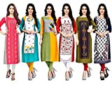 1 Stop Fashion Women's Crepe Straight Kurti (Jumbo 24_Multi_Small)