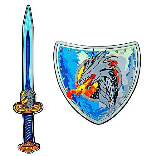 WIDMANN 97306  Espada y escudo de espuma suave, para nios, caballeros, espada de juego, arma de juego, fiesta temtica, carnaval
