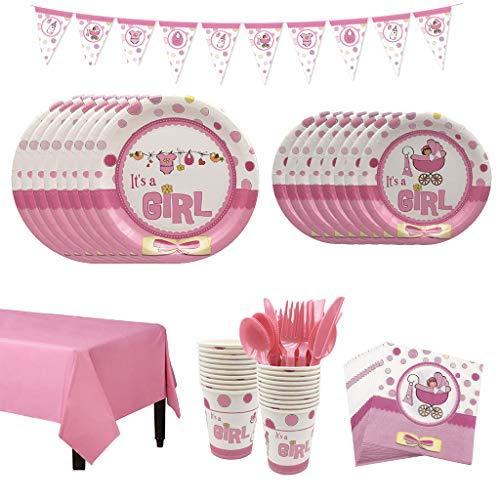 Amycute 66 Teile It's a Girl Baby Shower Deko Set mit Rosa Teller, Becher, Servietten und Banner - Babyshower Deko Tischdeko Geburtstag für 8 Personen.