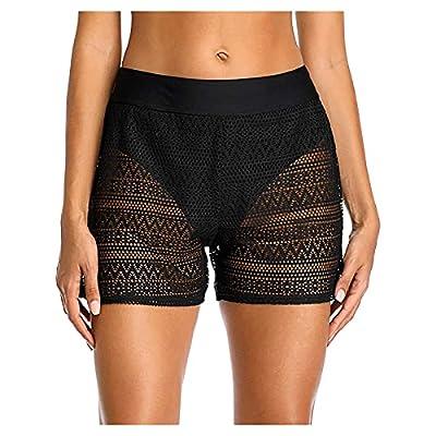 Boyshort Swimsuits for Women High Waisted Sexy Lace Swim Pant Hollow Out Bikini Bottoms Swimsuit Summer Swimwear