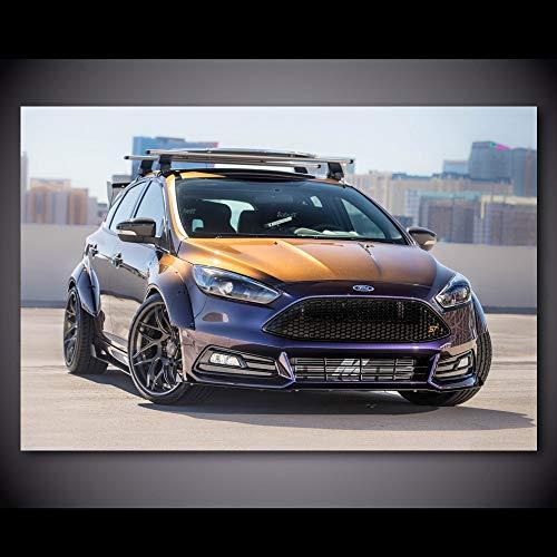 Pintura al óleo póster Cuadro de pared Fords Focus ST Sport CAr vehículo lienzo pintura carteles e impresiones seda pared arte moderno decoración del hogar 50x70cm
