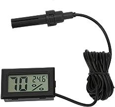 Higrómetro termómetro de humedad LCD de temperatura digital cuadrada de alta precisión con sonda de línea de 1,5 m, negro, blanco(Negro)
