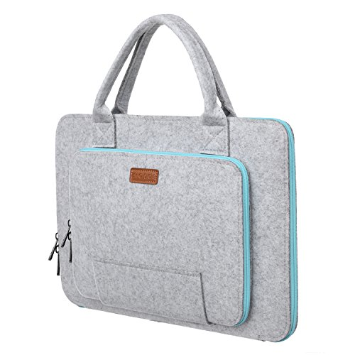 Ropch 15.6' Felt Laptop Sleeve with Handle Portable Notebook Computer Carrying Case Bag Pouch for 15 15.6 Inch Asus / Acer / Dell / HP / Lenovo / Toshiba, Grey & Light Blue