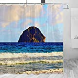 Martinique Shower Curtain Travel Bathroom Decor Set with Hooks Polyester 72x72Inch(YL-03807)