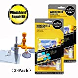 GLISTON Car Windshield Repair Kit for Chips and Cracks, Bulls-Eye, Star-Shaped, Nicks, Half-Moon Crescents, 2Pack