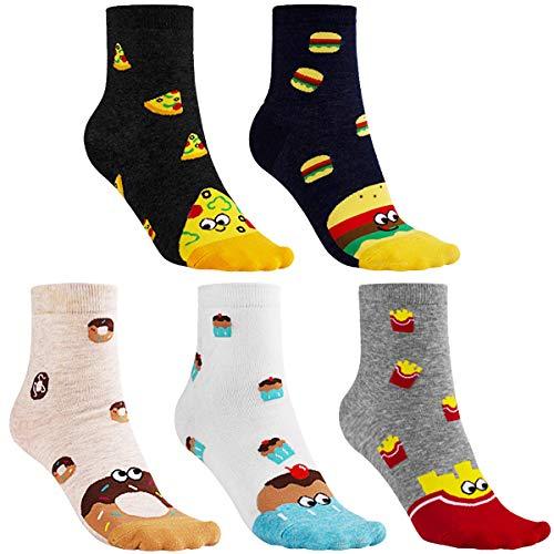 CNNIK 5 Paar Damen Socken, Pizza Kuchen Pommes Frites Donuts Hamburger Nette Neuheit Lustige Cartoon Baumwollsocken für Damen