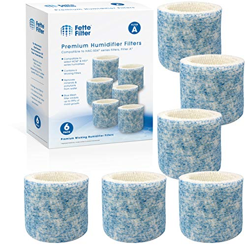 Fette Filter - Upgraded Blue Mesh Antimicrobial Treated Layer Humidifier Wicking Filters Compatible with Honeywell HAC-504AW, Filter A for Models HAC-504, HAC-504AW, HCM 350 and Other Cool Mist Models (Pack of 6)