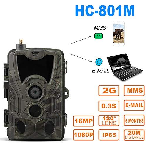 Roeam Wildkamera 16MP 1080P 2G MMS SMS Wildkamera mit Bewegungsmelder Nachtsicht,IP65 36 IR-LEDs IP65 Wasserdicht 120 ° Weitwinkelobjektiv