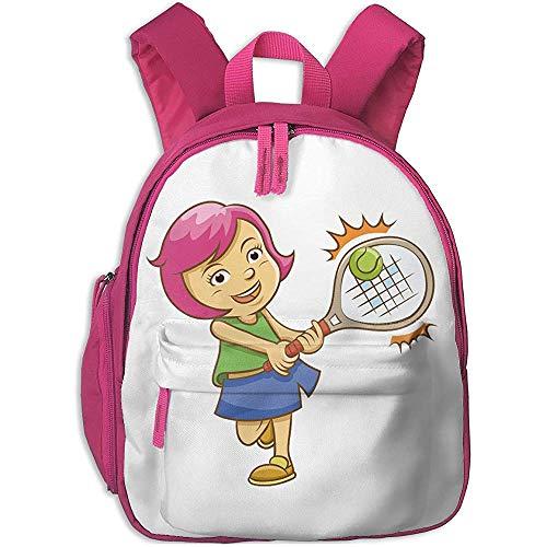 Arallaw Schulrucksack für Schüler Cute Badminton Powder Hair Girl Cartoon Rucksäcke