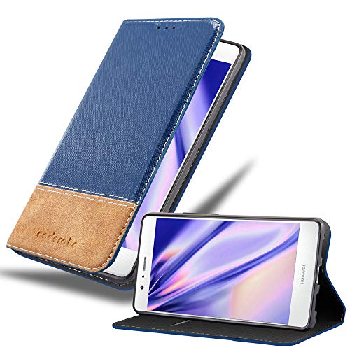 Cadorabo Funda Libro para Huawei P9 Lite en Azul MARRÓN -