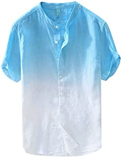 Zrom T Shirt for Men Stylish,Summer Men's Cool And Thin Breathable Collar Hanging Dyed Gradient Cotton Shirt