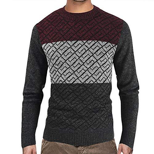 Jersey de Cuello Redondo para Hombre Jersey de Moda con Bloqueo de Color rombo Jacquard Slim Fit clido Casual Jersey de Manga Larga 3X-Large